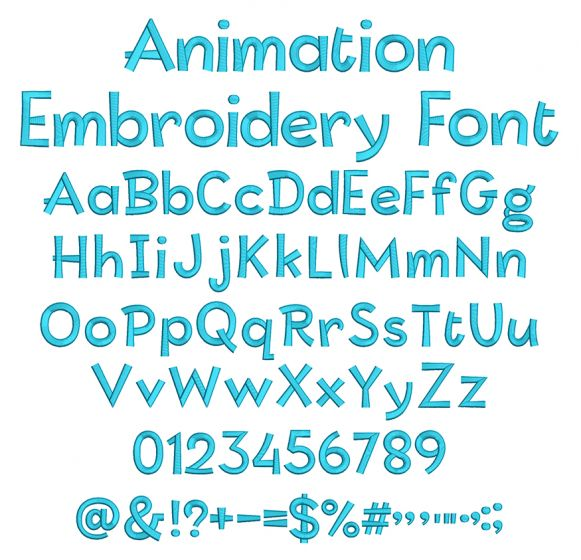 Animation Embroidery Font