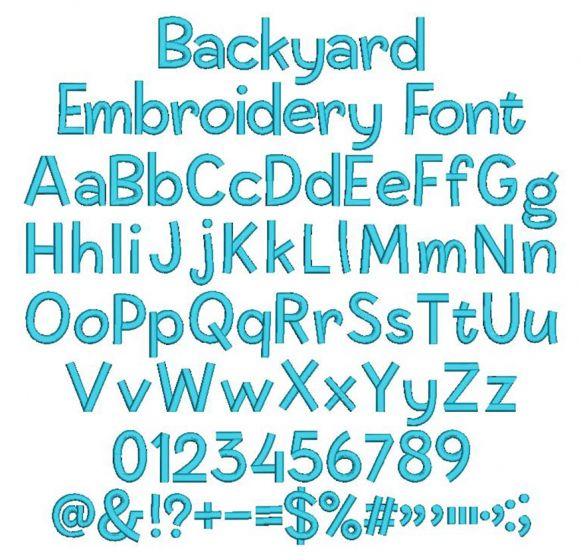 Backyard Embroidery Font