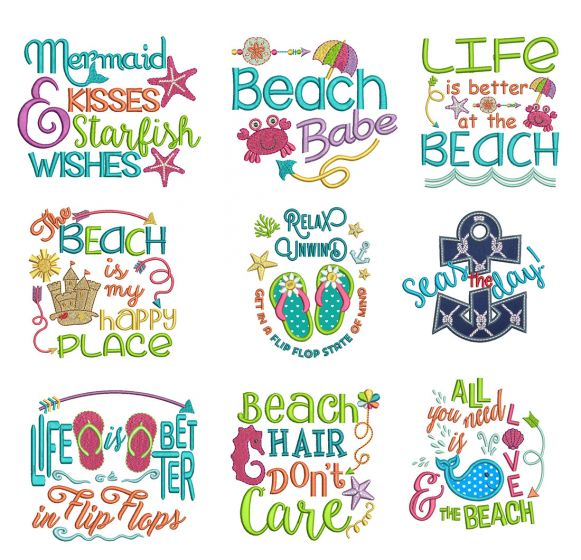 Seaside Sayings Set 1 Machine Embroidery Designs by JuJu