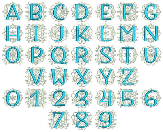 Ornamental Sans Serif Monogram Satin Background