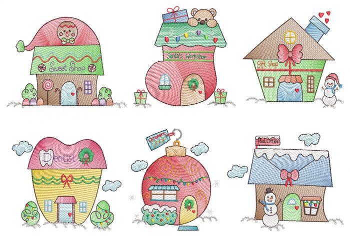Christmas Village Vintage Sketch 2