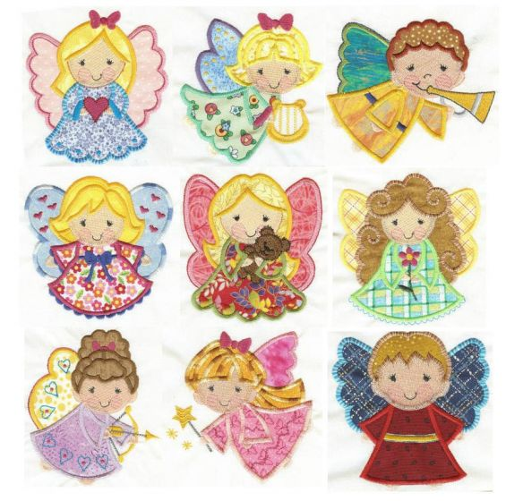 Cute applique angels machine embroidery designs