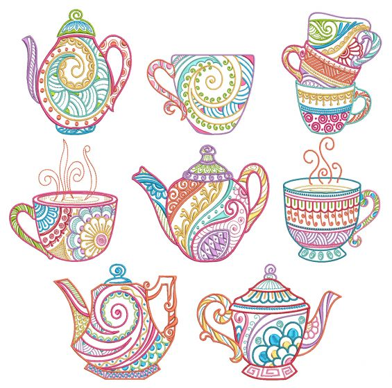Mehndi Tea Time Machine Embroidery Designs by JuJu