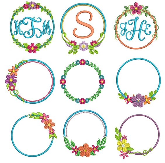 Circle Flower Wreaths Monogram Frames Machine Embroidery Designs by JuJu