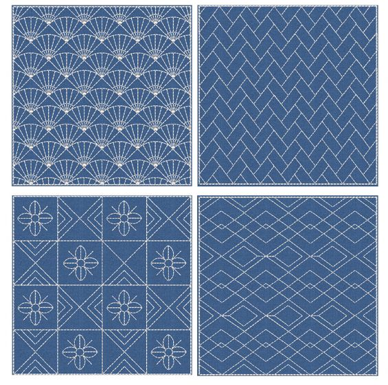 Sashiko Quilt Blocks 9 Machine Embroidery Designs by JuJu
