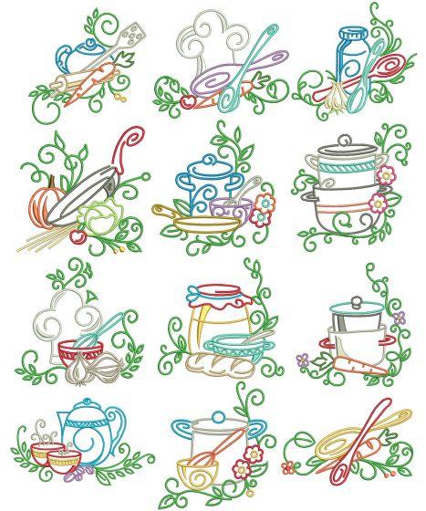 Swirly Kitchen Machine Embroidery Designs By JuJu
