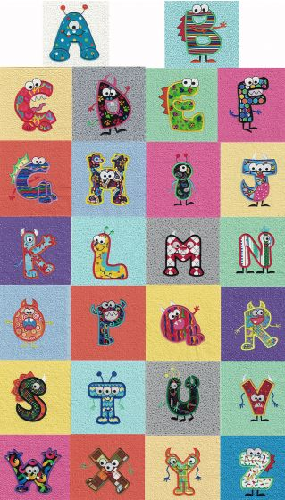 Monster Party Applique Alphabet Machine Embroidery Designs by JuJu