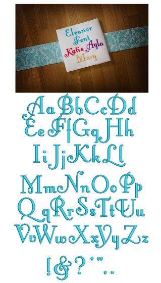 Eleanor Embroidery Font Designs by JuJu Machine embroidery designs