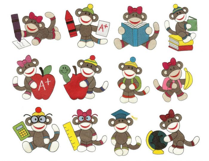 Sock monkeys school filled machine embroidery designs