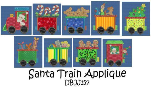 Santa Train Applique 4x4 and 5x7