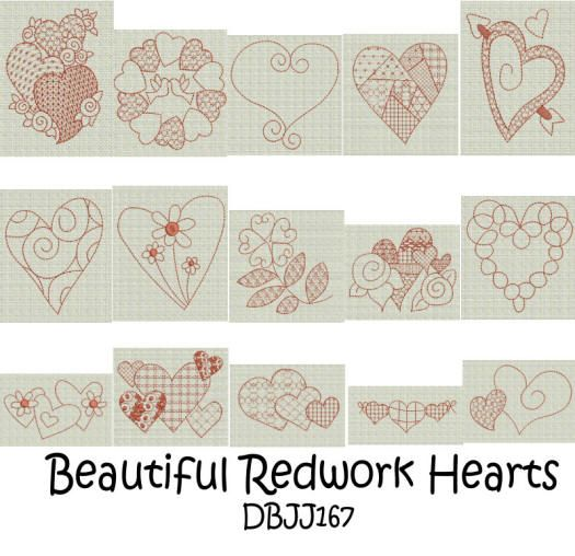 Beautiful Redwork Hearts