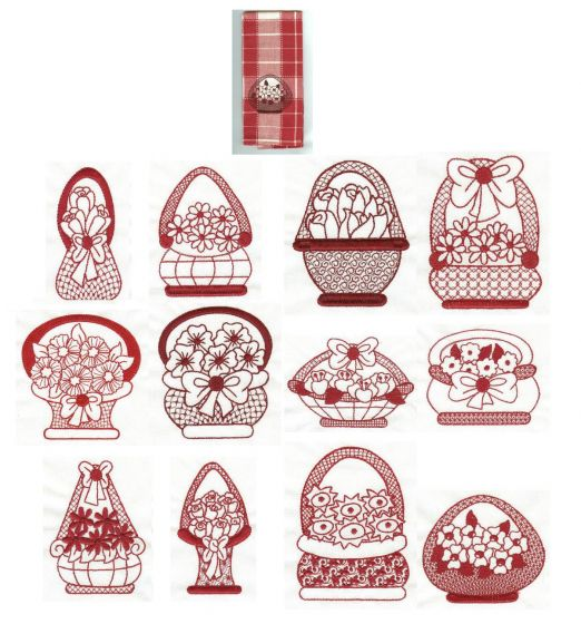Flower Baskets Redwork