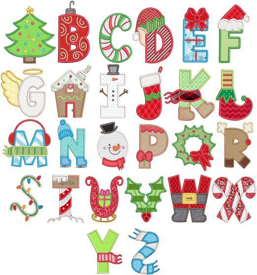 Christmas Applique Alphabet Machine Embroidery Designs By JuJu