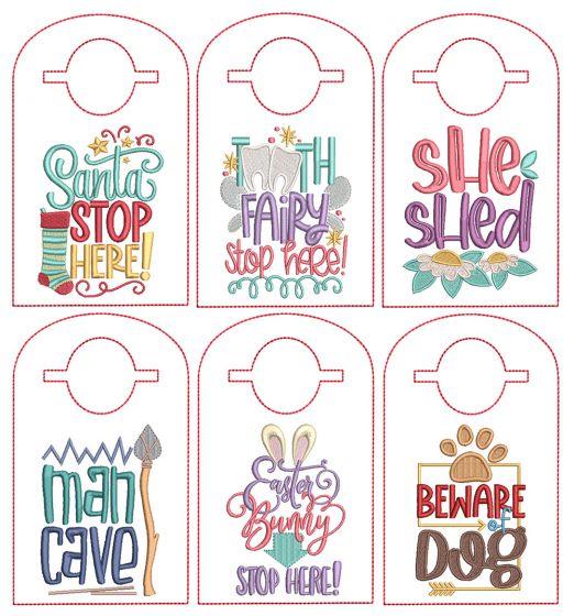 Designs by JuJu In The Hoop Machine Embroidery Designs Doorknob Hangers