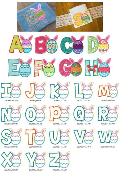 Cute Easter Egg Alphabet with bunny ears appliqué machine embroidery designs