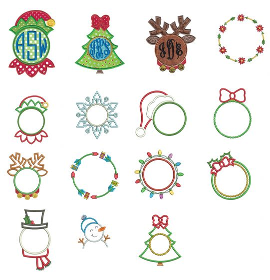 Christmas Monogram Frames Machine Embroidery Designs by JuJu