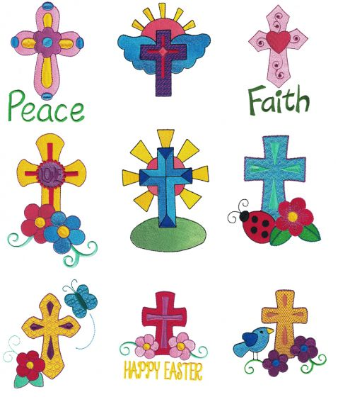 Easter Crosses Filled Machine Embroidery Designs by JuJu