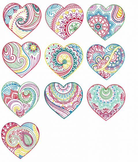 Mehndi Henna Embroidery Hearts Designs by JuJu Machine Embroidery Designs
