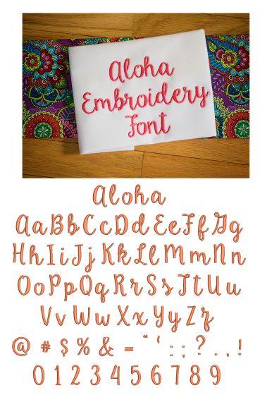 Aloha Embroidery Font Machine Embroidery Designs by JuJu