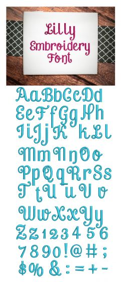 Lilly Embroidery Font Monogram Alphabet Machine Embroidery Designs by JuJu