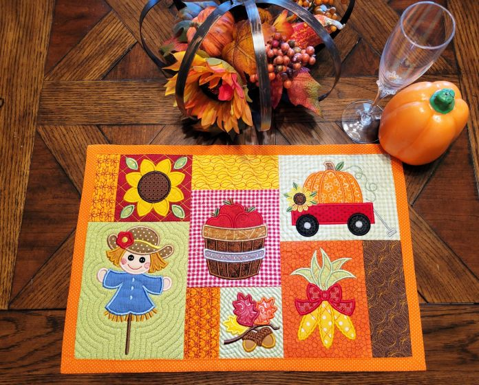 In The Hoop Fall Placemat 1 Digital Machine Embroidery Designs by JuJu Exclusive