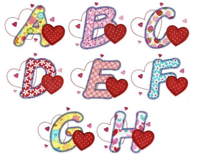 Hearts love applique alphabet machine embroidery designs font