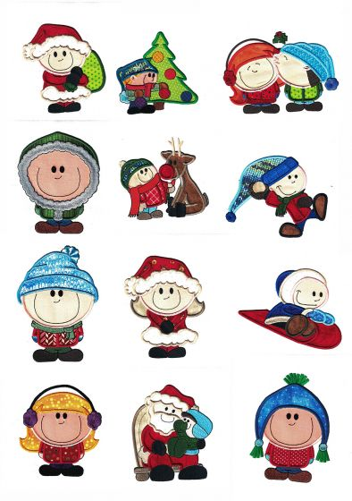 Christmas Cuties Kids Applique Machine Embroidery Designs by JuJu