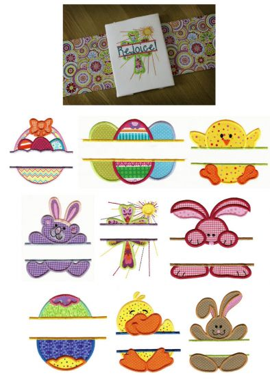 Cute Split Easter Applique Machine Embroidery Designs
