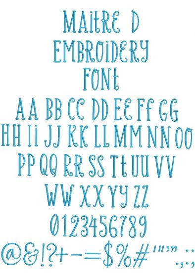Maître D Embroidery Font