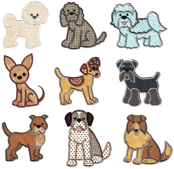 Top Dogs Applique Set 4 Machine Embroidery Designs by JuJu