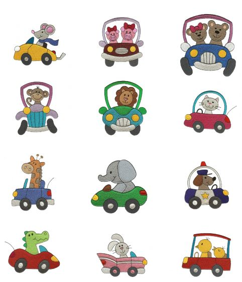Cute Animals in Cars Filled embroidery machine designs