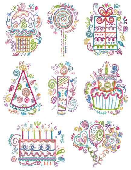 Birthday Doodles Machine Embroidery Designs By JuJu