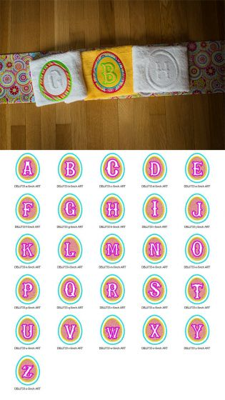 Embossed Easter Egg Monogram Alphabet Machine Embroidery Designs by JuJu
