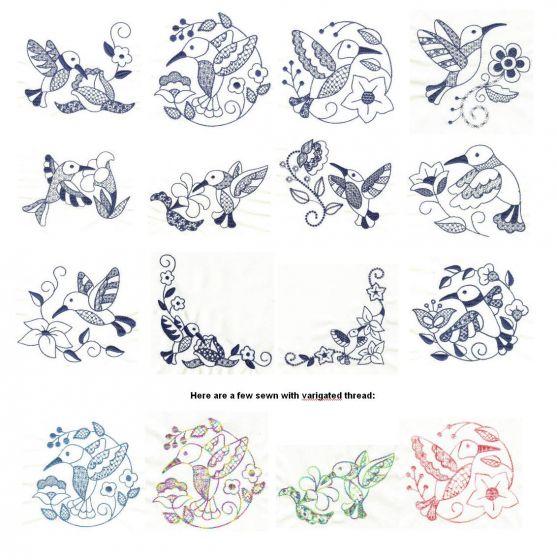 jacobean hummingbirds redwork machine embroidery designs