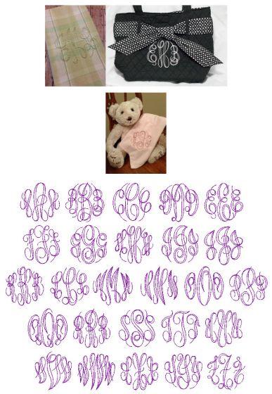 Embroidery Bean Stitch Circular Script Monogram