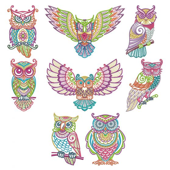 Mehndi Owls Machine Embroidery Designs by JuJu