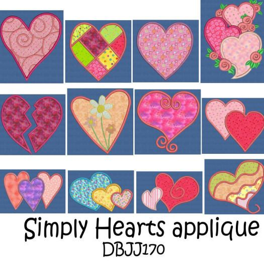 Simply Hearts Applique 4x4 and 5x7
