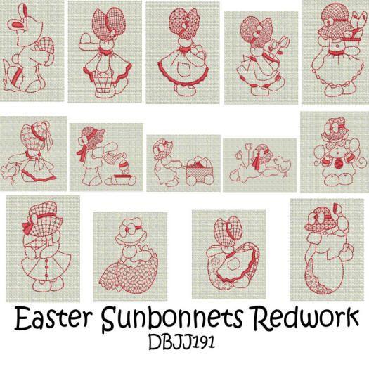 Easter Sunbonnets Redwork
