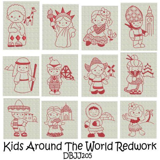 Children Around the World Redwork