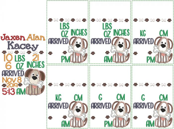 Puppy Applique Birth Announcement Template Embroidery Design Pattern