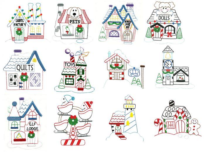 North Pole Village Santas Village Machine Embroidery Designs by JuJu
