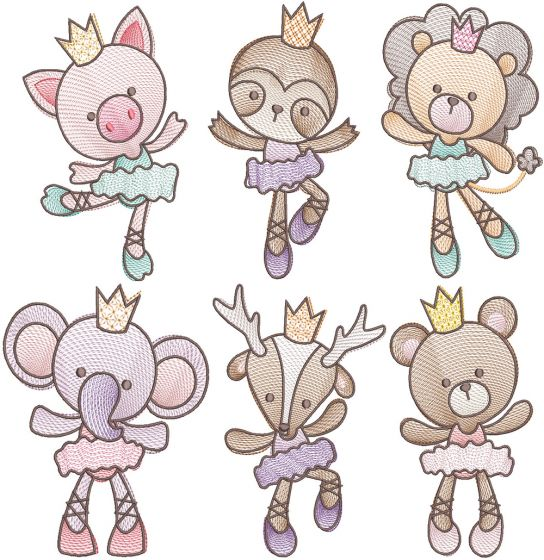 Sketch Ballerina Animals 1