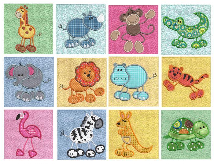 Stick Zoo Applique Stipple machine embroidery designs