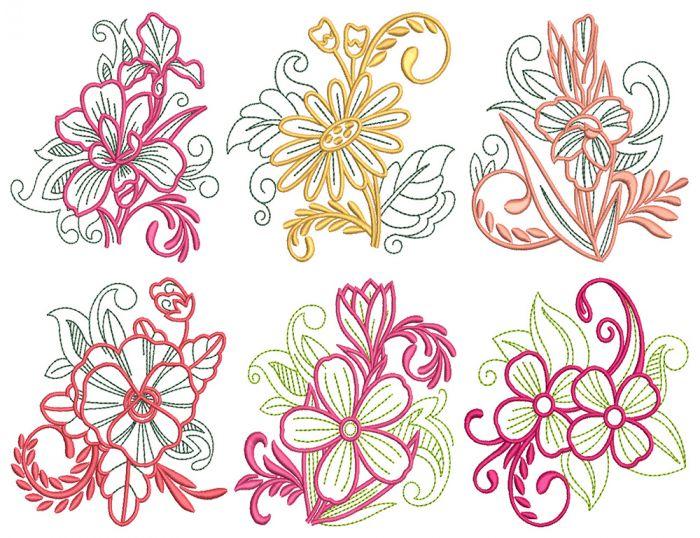 Elegant Floral Motifs 2 Machine Embroidery Designs by JuJu