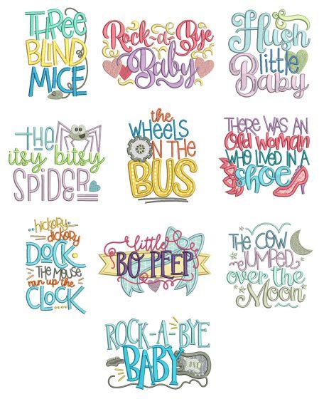 Nursery Rhymes Word Art Set 1 Machine Embroidery Designs by JuJu