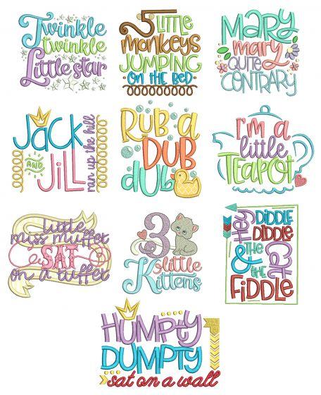 Nursery Rhymes Word Art Set 2 Machine Embroidery Designs by JuJu