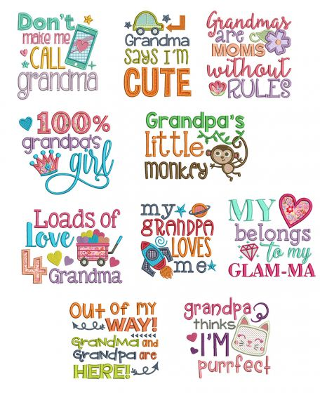Cute Grandparent Sayings Machine Embroidery Designs by JuJu