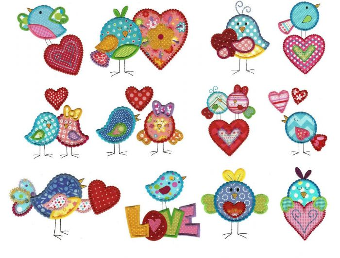 Love birds with hearts machine applique embroidery designs