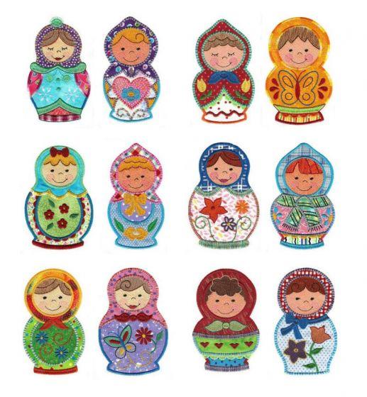 Cute Russian Dolls Applique