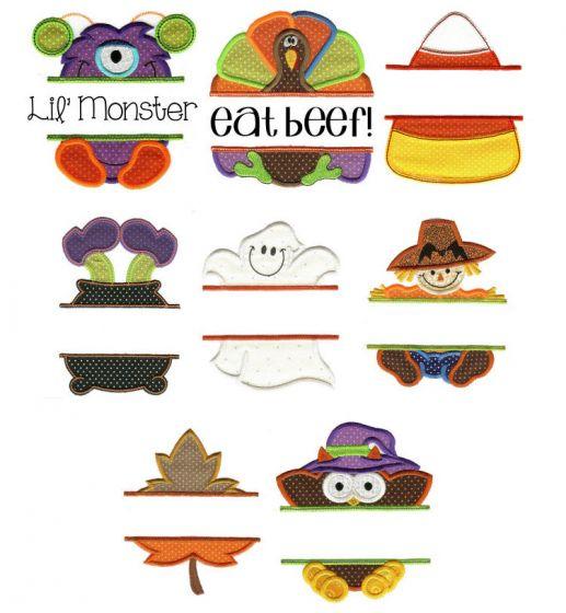 Set of autumn split applique designs for machine embroidery